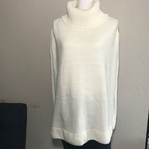 New York & Company Ivory Turtleneck Poncho NWT